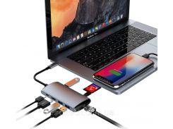 USB-хаб с кабелем Qitech Aluminum Type-C + 3 Type-A + HDMI 4K + MicroSD + SD + Ethrernet 8 в 1  (QT-Hub6)