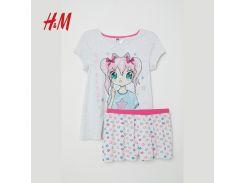 Пижама (футболка, шорты) H&M 146 152см серый 6306907