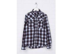 Рубашка H&M 158см синий клетка 2957092