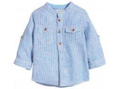 Рубашка H&M 92см голубой полоска 72929342