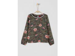 Блуза s.Oliver 152см хаки цветы 66808113026