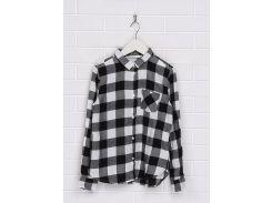 Рубашка H&M 140см черно бело серый 96403538