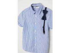 Рубашка H&M 134см синий полоска 75842817