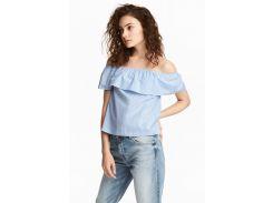Блуза H&M 32 голубой полоска 4785926