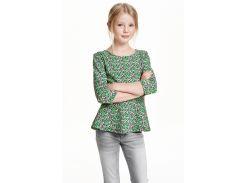 Туника H&M 158 164см зеленый цветы 3477033