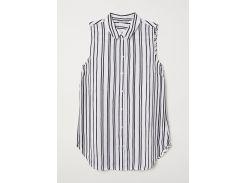 Блуза H&M 42 черно белый полоска 3895354