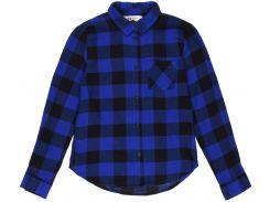 Рубашка H&M 134см синий клетка 6264158