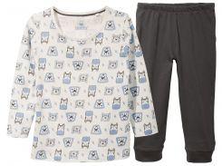Пижама (лонгслив, брюки) Lupilu 86 92см темно серый, белый 286909