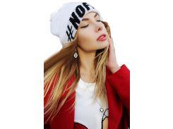 Шапка H&M One Size белый надпись 5678675
