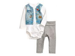 Комплект (боди, брюки) H&M 56см белый,серый 75841127