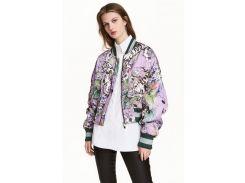 Бомбер H&M 32 фиолетовый цветы 5169985