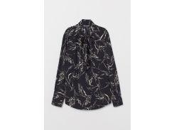 Блуза H&M 42 черный узоры 7112748