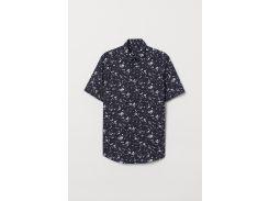 Рубашка H&M M темно синий цветы 5579087