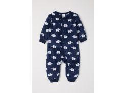 Пижама H&M 74см темно синий слоны 1740576