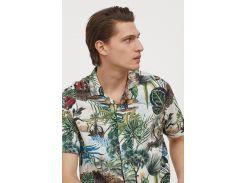 Рубашка H&M M молочный цветы 6566779