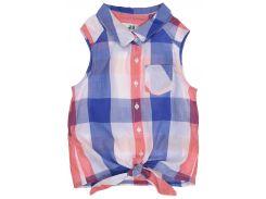 Рубашка H&M 122см сине белый клетка 3515753