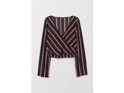 Блуза H&M 40 черно красный полоска 7316619