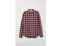 Рубашка H&M L красно синий клетка 6340338