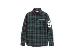 Рубашка H&M 164см зеленый клетка 3155352