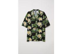 Рубашка H&M L черный цветы 6153038