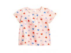 Футболка H&M 56см светло розовый сердечки 49252151