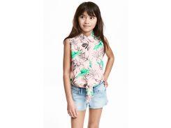 Блуза H&M 158см пудровый листики 4572295