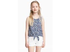 Блуза H&M 158см бело синий 5114146