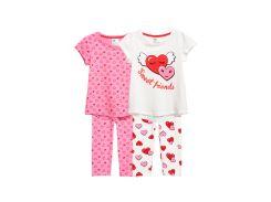 Пижама (кофта, брюки) 2шт H&M 110 116см белый, розовый сердечки 75638747