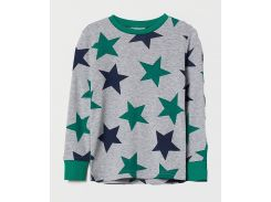 Лонгслив для сна H&M 110см серый звезды 5910418