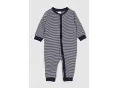 Пижама H&M 68см бело синий полоска 657434