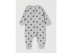 Пижама H&M 56см серый звезды 7112359