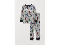 Пижама (лонгслив, брюки) H&M 110 116см серый ниндзяго 68691281