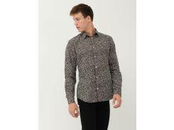 Рубашка H&M L черный цветы 5016169