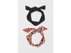 Повязка (2 шт) H&M One Size черный леопардовый 695166