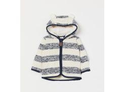 Куртка H&M 62см молочно синий полоска 624383