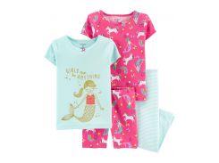 Пижама (2 футболки, шорты, лосины) Carter's 5 лет (108 114 см) розовый, мятный 38110
