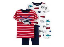 Пижама (2 футболки, 2 шорты) Carter's 12 мес (72 78 см) красный полоска 450410