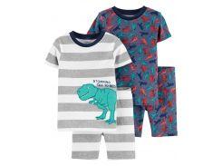 Пижама (2 футболки, 2 шорты) Carter's 12 мес (72 78 см) синий, серый динозавры 450310