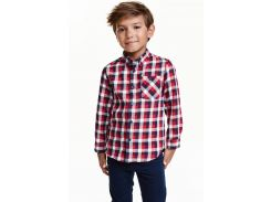 Рубашка H&M 134см комбинированный клетка 10123838834