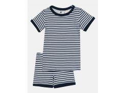 Пижама (футболка, шорты) H&M 98 104см бело синий полоска 3027350891