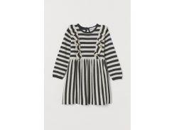 Платье H&M 92см темно серый полоска 23047899090
