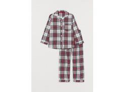 Пижама (рубашка, брюки) H&M 98 104см бело красный клетка 21066571822