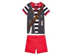 Пижама (футболка, шорты) H&M 122 128см серо красный 24075063676
