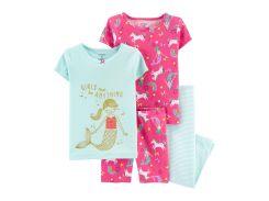 Пижама (2 футболки, шорты, лосины) Carter's 2 года (88 93 см) розовый, мятный 38110