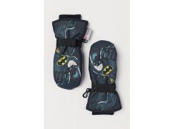 Лыжные варежки H&M 104см черный бэтмен 1908694679