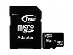Team microSDHC 16GB Class 10 (с адаптером) (TUSDH16GCL1003)