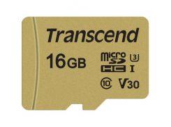 Transcend microSDHC 16GB Class 10 UHS-I (с адаптером) (TS16GUSD500S)