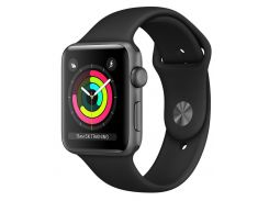 Смарт-часы Apple Watch Series 3 38mm Space Gray Aluminum Case with Black Sport Band (MQKV2FS/A)