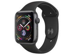 Apple Watch Series 4 44mm Space Gray Aluminum Case with Black Sport Band MU6D2