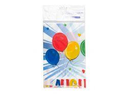"""Праздничная пластиковая скатерть """"Воздушные шары"""" Special Occasion 120х180см Светло-голубой, Красный, Желтый"""